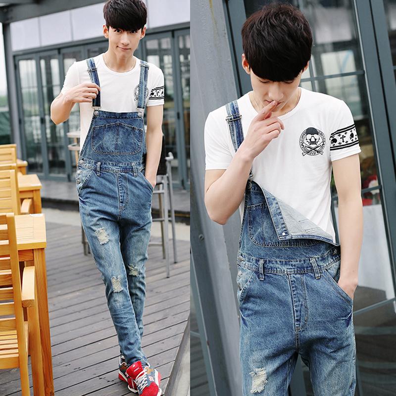2014-moda-primavera-verão-homens-casual-rasgado-buraco-jeans-bib-cal&ccedil