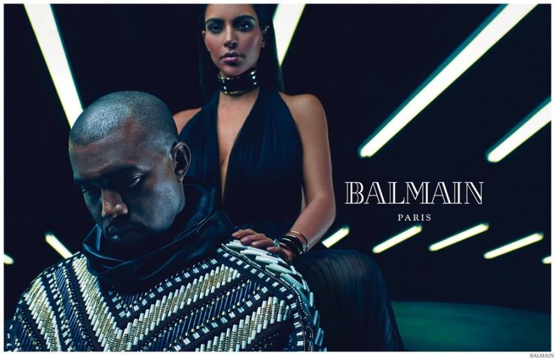 972d4df3c3439 Kanye West and Kim Kardashian for Balmain s Spring   Summer 2015 ...